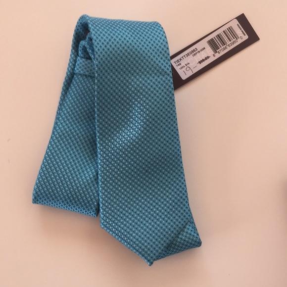 Michael Kors Blue Silk Textured Slim Necktie
